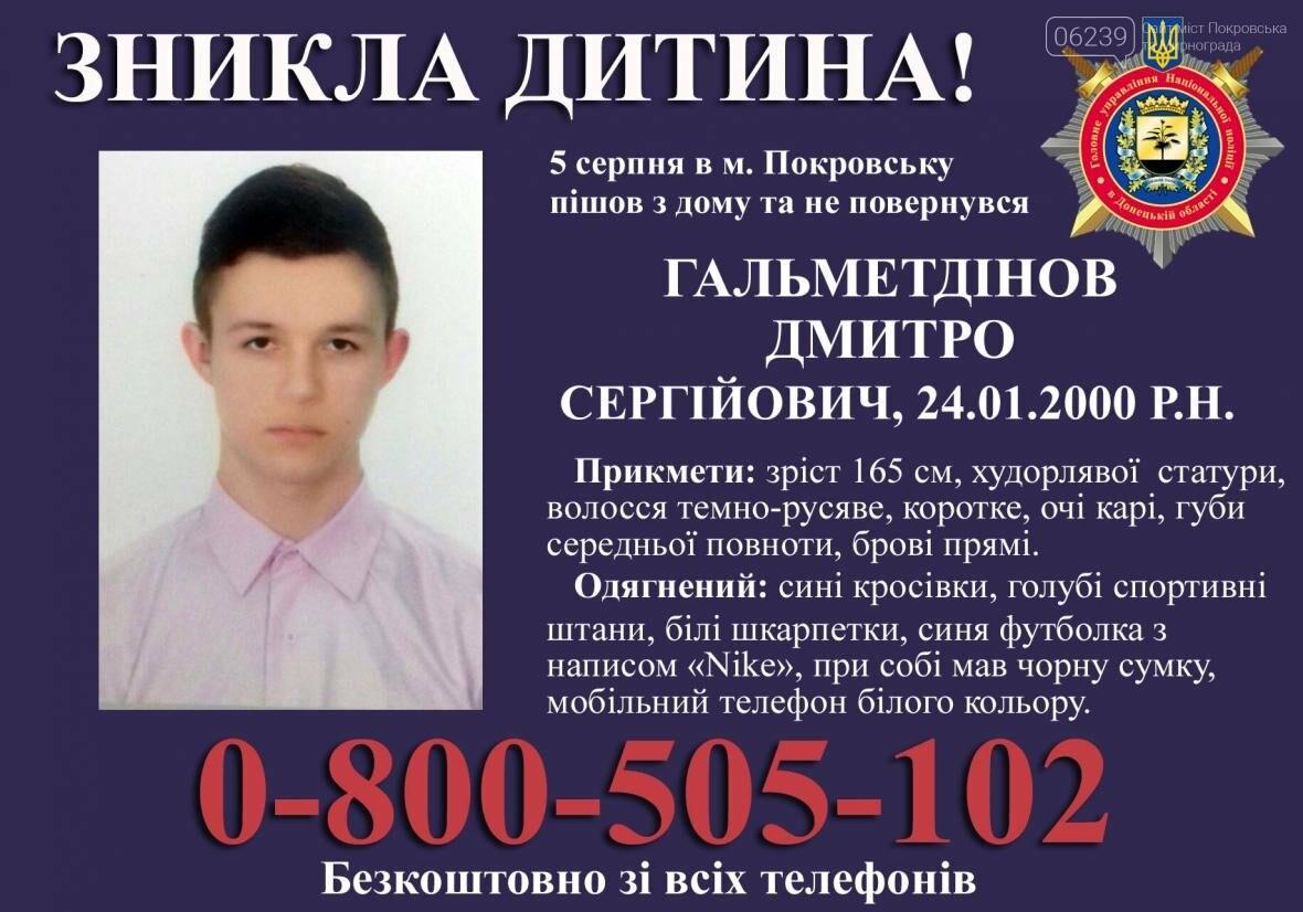 Жителей Покровска просят помочь в поисках пропавшего 17-летнего юноши (ОБНОВЛЕНО), фото-1