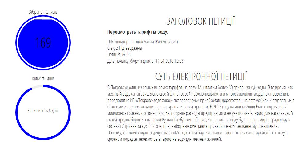 В Покровске петиция о пересмотре тарифа на воду почти собрала необходимое количество голосов, фото-1