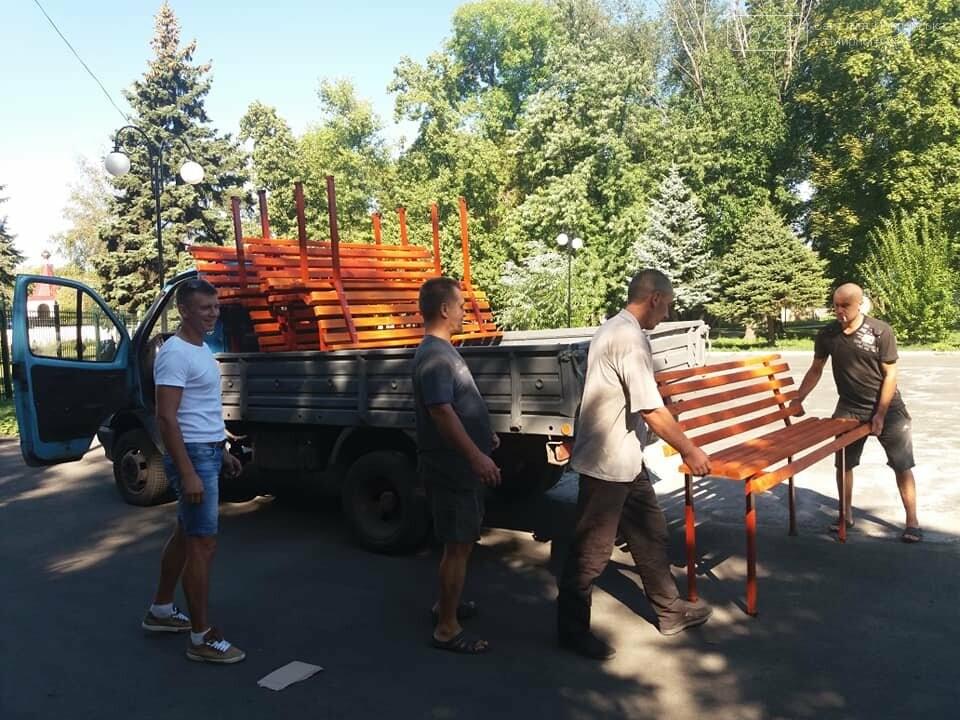 Лавочки и урны установили в парке Соборный в Покровске, фото-9