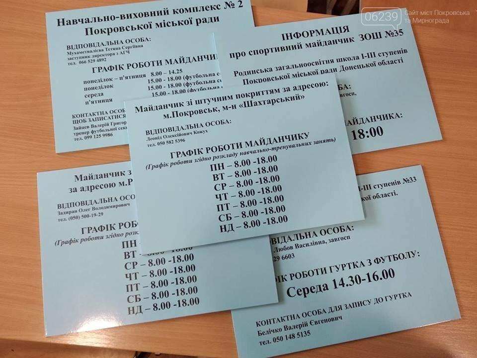 На спортивных площадках Покровска появятся таблички с контактами тех, кто отвечает за их состояние, фото-1