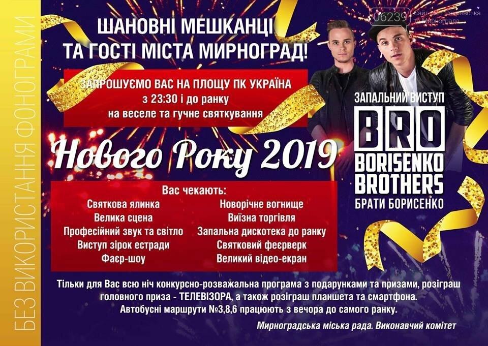Опубликована программа празднования Нового Года в Мирнограде , фото-1