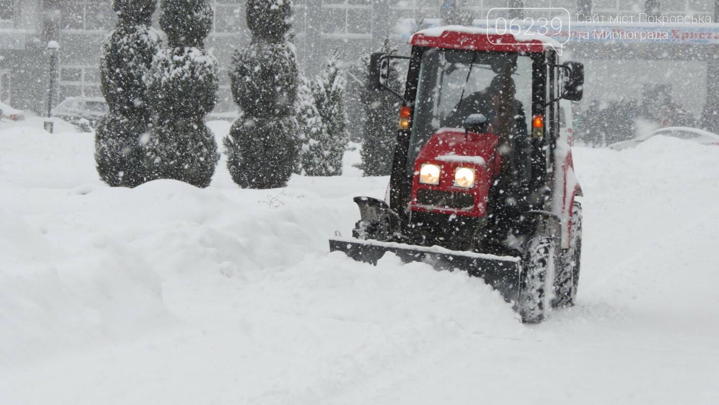 В Покровске с утра снегопад… работают коммунальщики и техника, фото-24