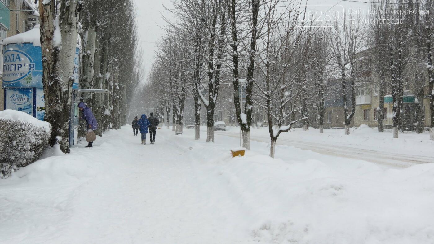 В Покровске с утра снегопад… работают коммунальщики и техника, фото-27