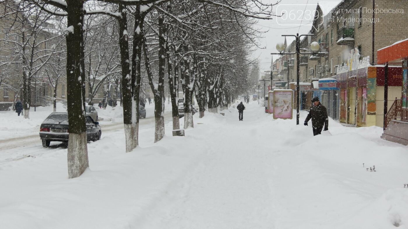 В Покровске с утра снегопад… работают коммунальщики и техника, фото-26