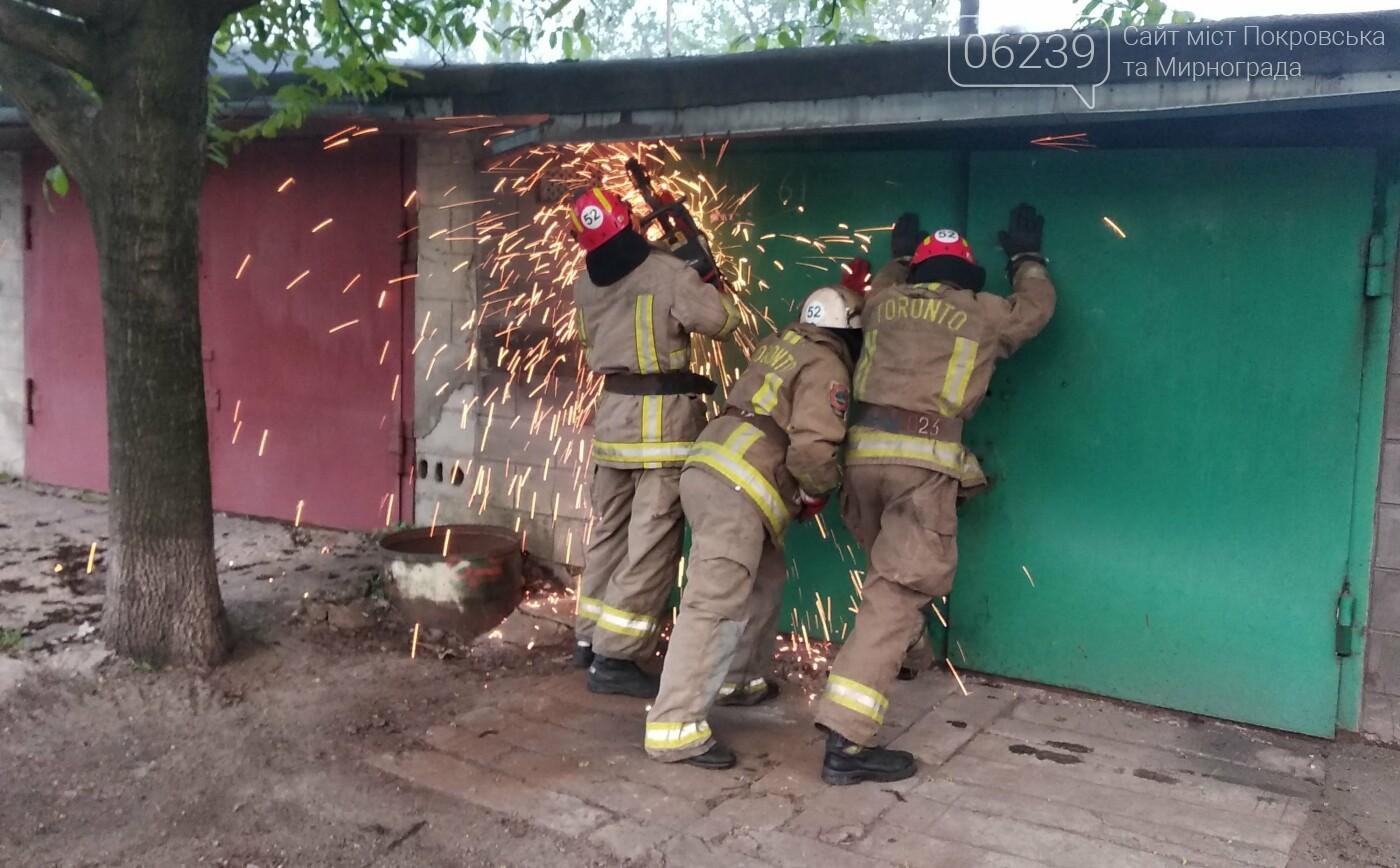 Сегодня утром в Мирнограде горел легковой автомобиль внутри одного из гаражей, фото-1