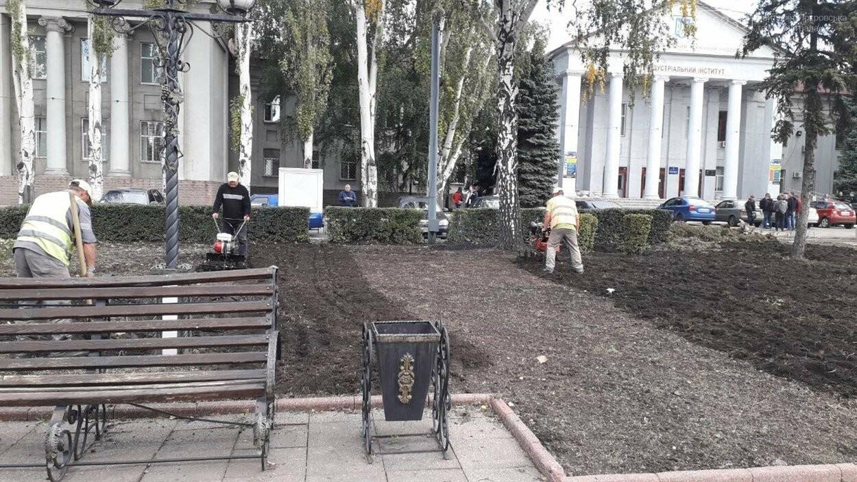 На главной площади Покровска продолжаются работы по озеленению и благоустройству, фото-2
