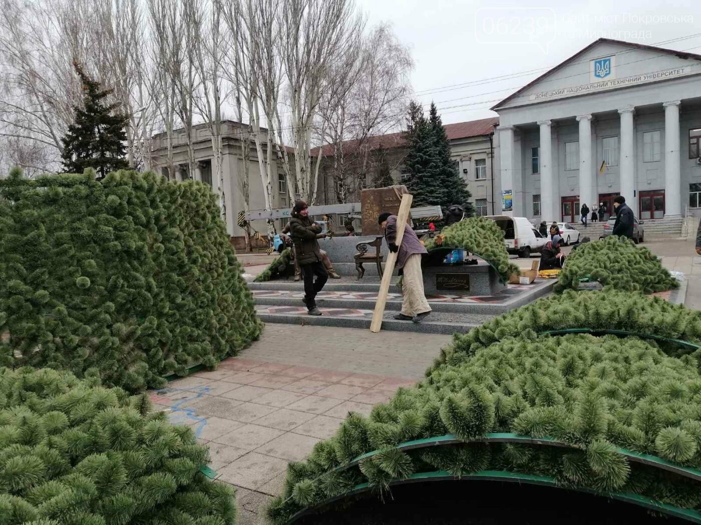 В Покровске начался монтаж главной елки города, фото-4