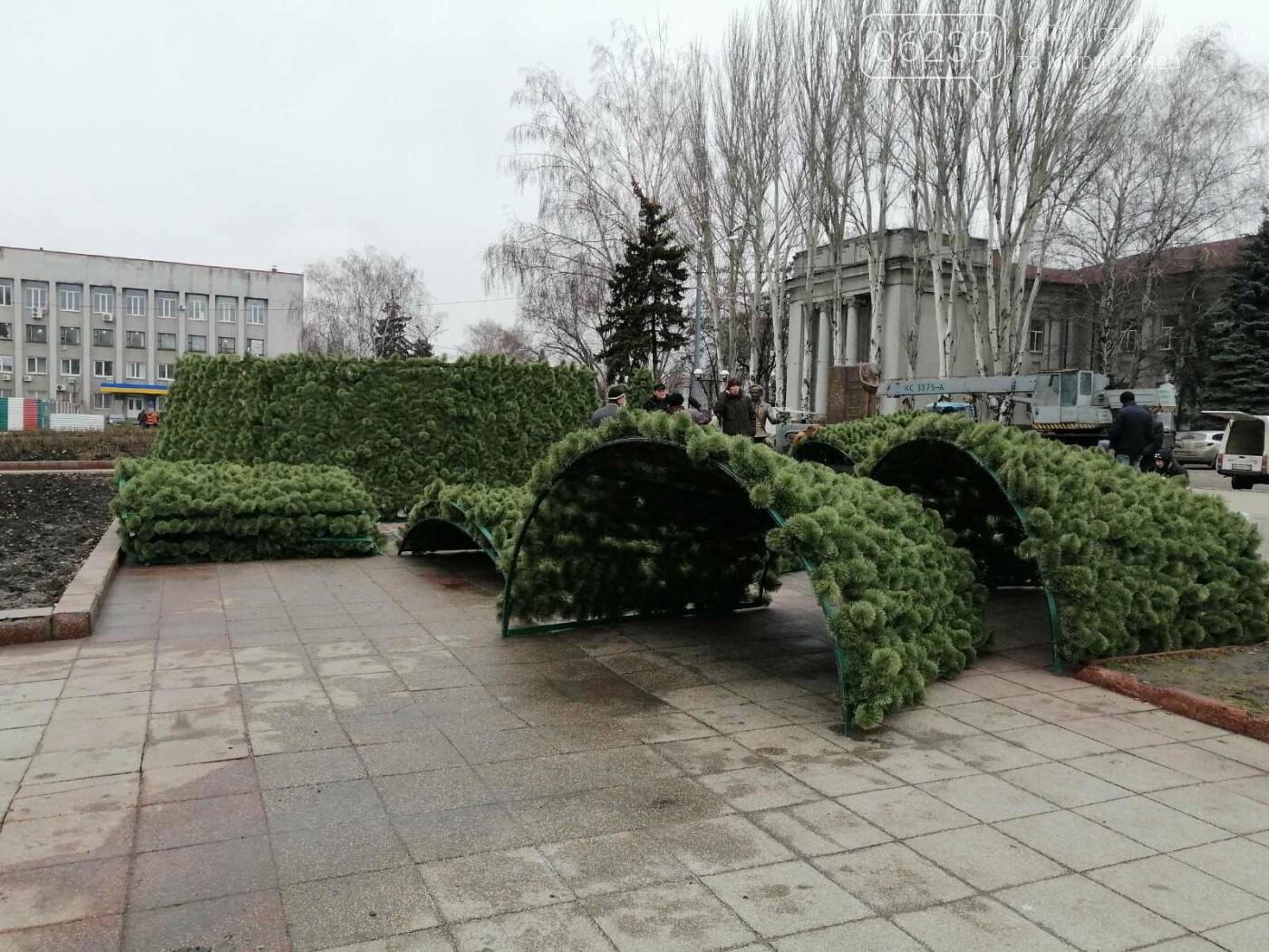 В Покровске начался монтаж главной елки города, фото-5