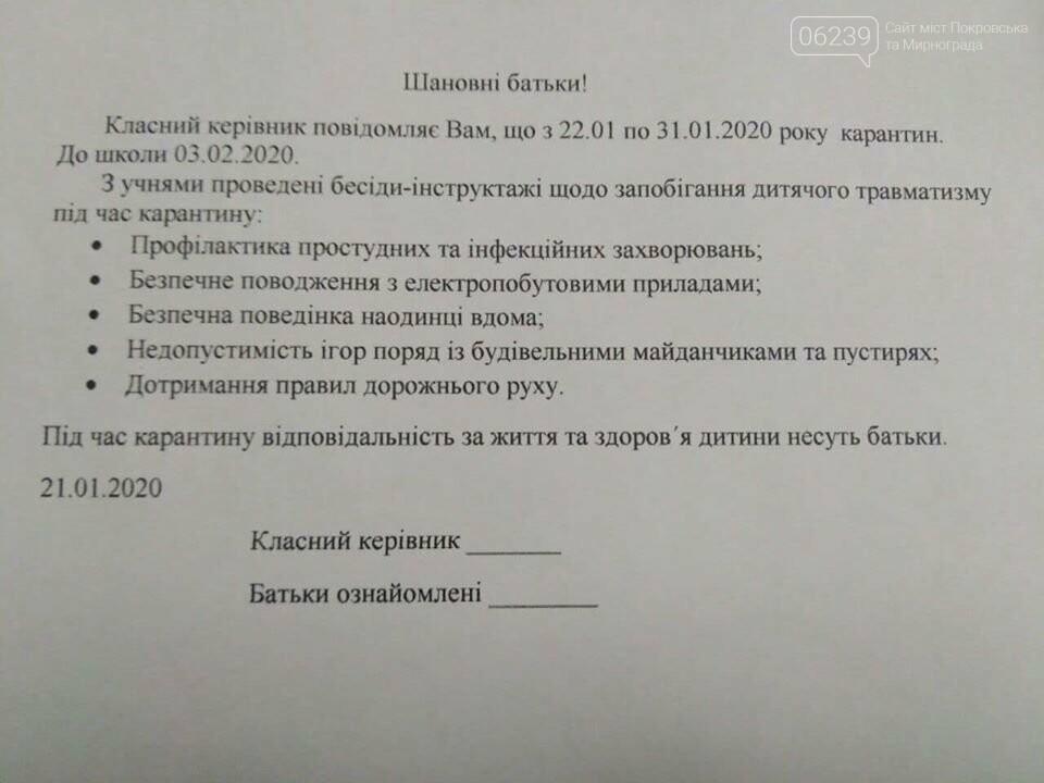 С завтрашнего дня в школах Мирнограда объявлен карантин , фото-1