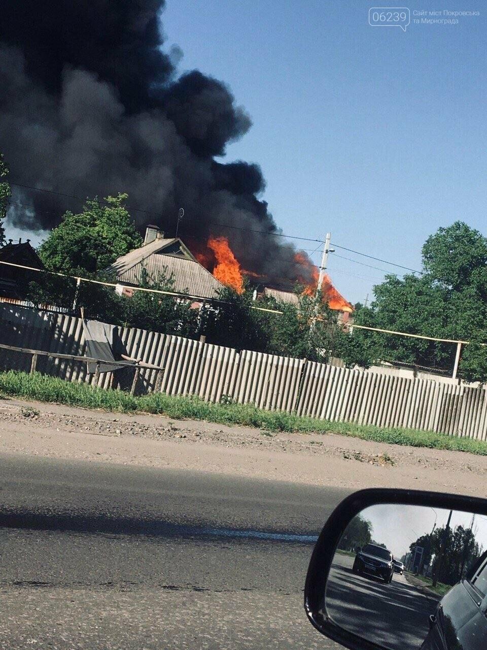Спасательные части трех городов тушили вчера пожар в Покровске, фото-1