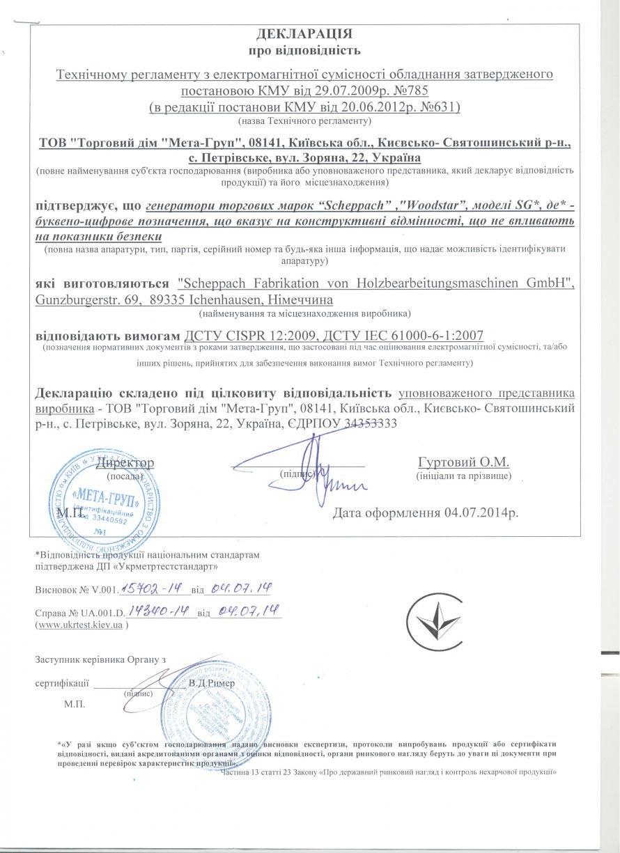 Scheppach сертификат
